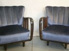 1930's armchairs with fluted backs, fabric velvet colour steel blue